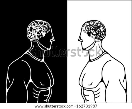 Caricature of two muscular man with exposed skull showing brain with rotating machinery gear. - stock photo