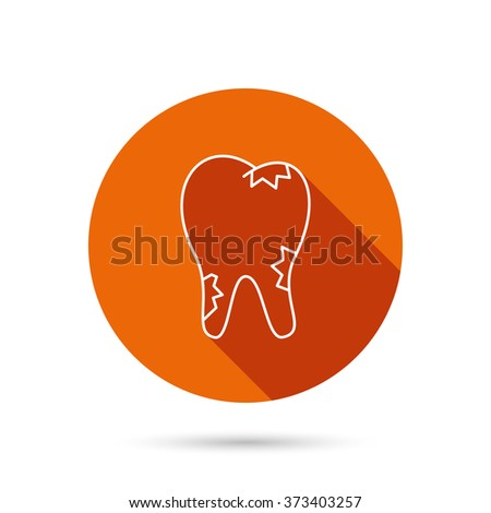 Caries icon. Tooth health sign. Round orange web button with shadow. - stock photo