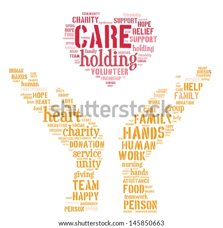 caring info-text graphic and arrangement concept on white background (word cloud) - stock photo