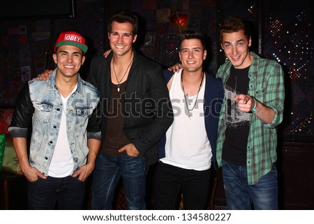 Carlos Roberto Pena Jr., James Maslow, Logan Henderson and Kendall Schmidt at the Big Time Rush Press Conference And Tour Announcement , House of Blues, West Hollywood, CA 04-01-13 - stock photo