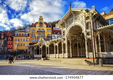 Carlsbad, the famous spa city in western Bohemia, very popular tourist destination in Czech Republic - stock photo