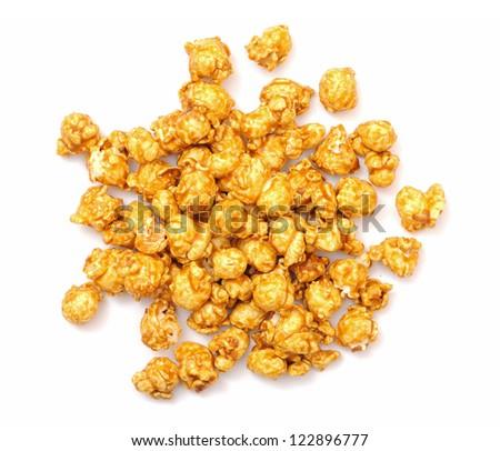 carmel  popcorn on white background - stock photo