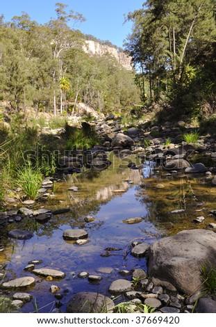 Carnarvon Gorge - creek crossing - stock photo