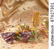 carnival background with filled champagne glass in floating satin back with streamers and confetti - stock photo