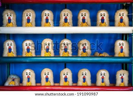 Carnival Clown Head Ball Toss Game - stock photo