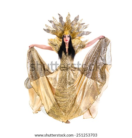 carnival dancer woman dancing with crown, isolated on white background in full length. - stock photo