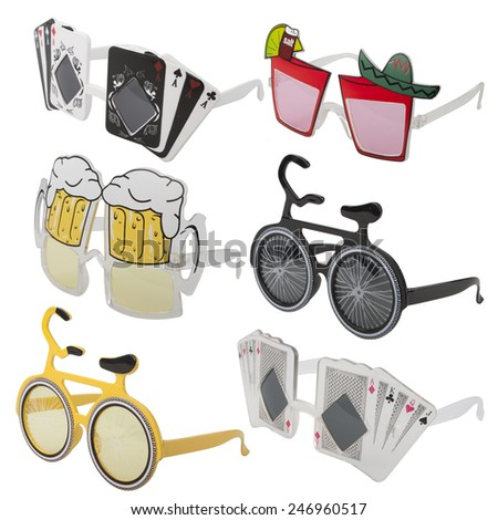 Carnival glasses set on white background - with PS paths. - stock photo