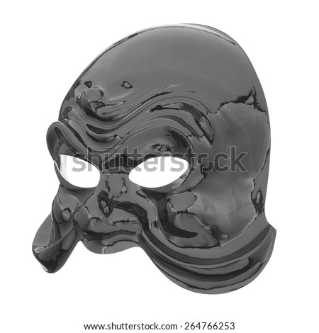 Carnival glossy black mask isolated on white, clipping path included - stock photo