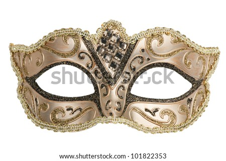 Carnival mask decorated with designs on a white background - stock photo