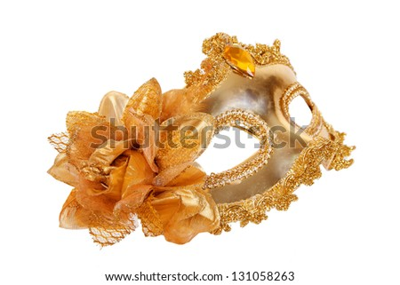 Carnival mask gold isolated on white background - stock photo