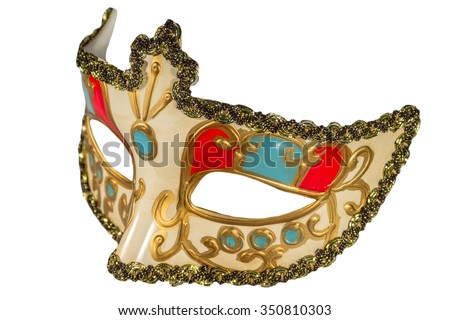 Carnival mask gold-painted curlicues decoration blue and red inserts half mask isolated white background side view - stock photo