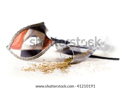 carnival mask on white with glass - stock photo