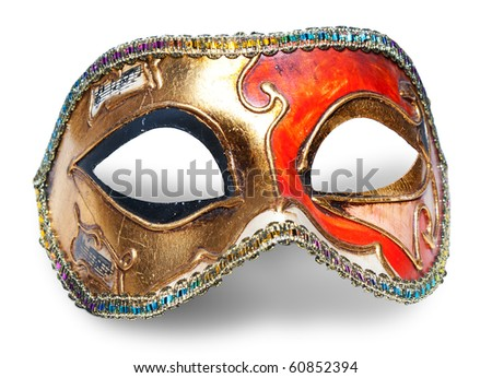Carnival mask over white - stock photo