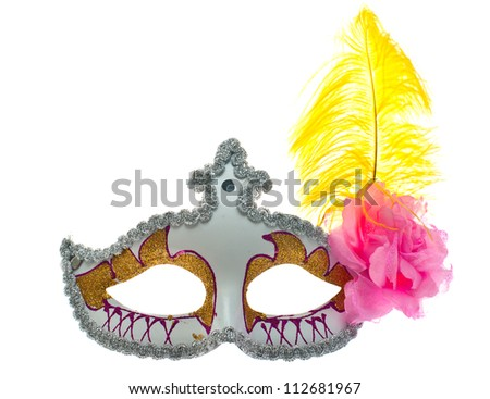 Carnival mask shot in studio on a white background. - stock photo