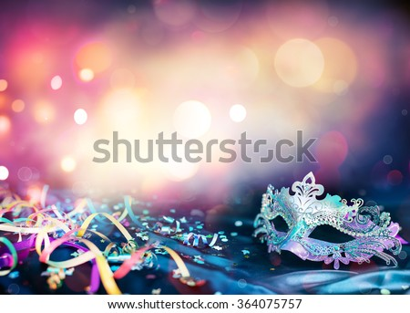 Carnival Mask, Streamers And Confetti For Festive Background  - stock photo