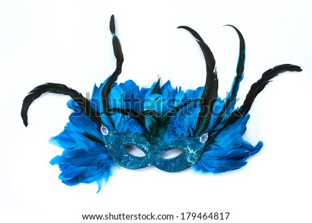 carnival mask with feathers  on a white background - stock photo