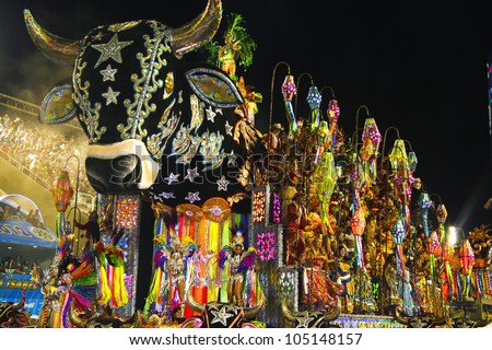 CARNIVAL RIO DE JANEIRO - FEBRUARY 19:  Samba Schoolparade float at the Sambadome February 19, 2012 in Rio de Janeiro, Brazil. The Rio Carnival is the biggest carnival in the world. - stock photo