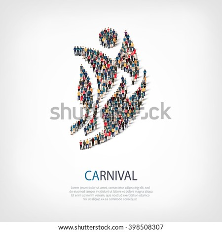 carnival symbol people crowd - stock photo