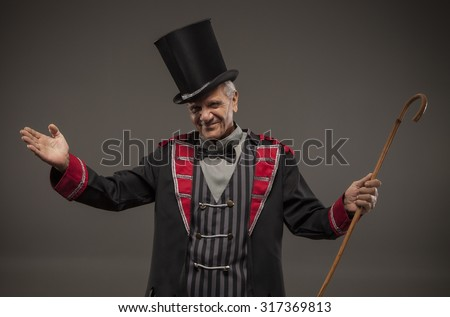 Carnival Ticket Seller, Retro American Side Show - stock photo