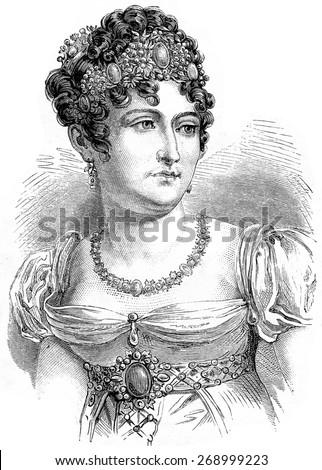 Caroline Bonaparte, vintage engraved illustration. History of France 1885. - stock photo