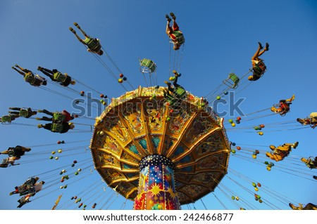 carousel at Oktoberfest in Munich - stock photo