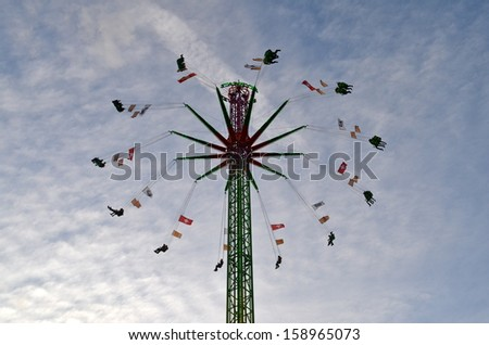 Carousel at the Basel Autumn Fair (Herbstmesse) in Switzerland - stock photo