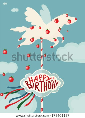 Carousel Horse and Apples Happy Birthday Card. Birthday merry go round horse. Raster variant. - stock photo