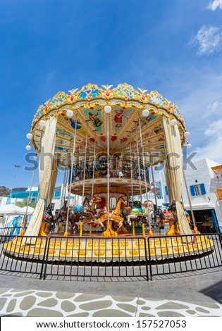 Carousel horse in Blue sky - stock photo