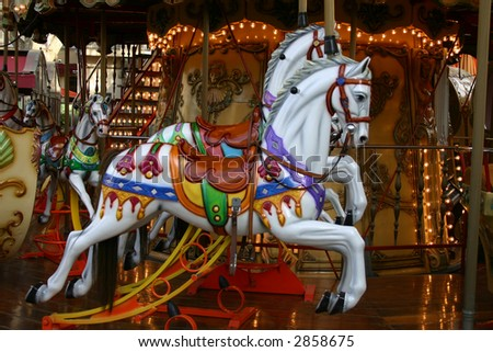 Carousel horse near the Palais des Papes in Avignon France. - stock photo