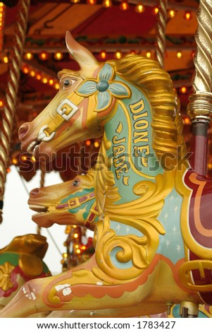 Carousel Horse restored into its beautiful condition - stock photo