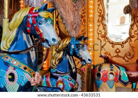 Carousel horses close up - stock photo
