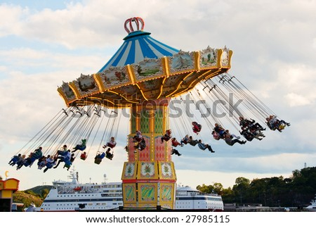 Carousel in the amusement park of Grona Lund, Stockholm, Sweden - stock photo