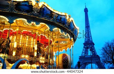 carousel near Eiffel tower in Paris - stock photo