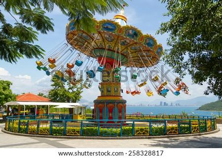 Carousel on the island - stock photo
