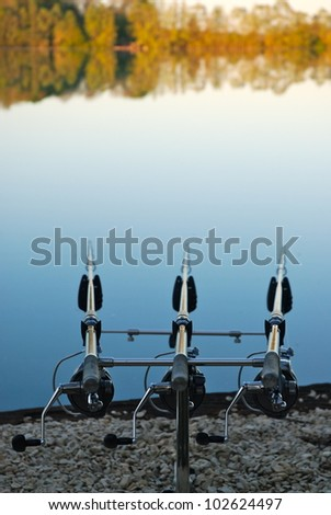 Carp fishing rods - stock photo