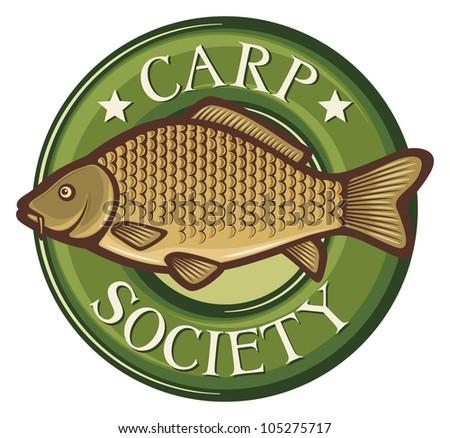 carp society symbol (carp society badge, carp fish emblem, carp society sign, common carp) - stock photo