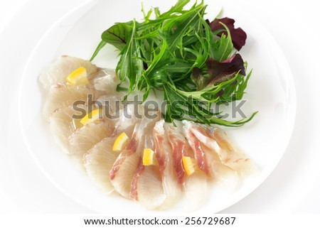 Carpaccio of white fish - Japanese sea bass - - stock photo