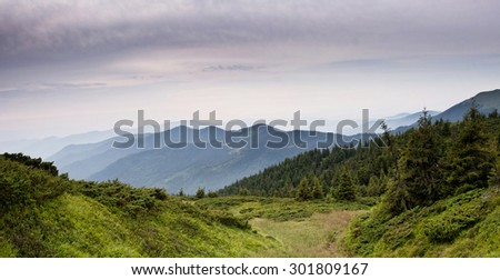 Carpathian mountain landscape during summer - stock photo