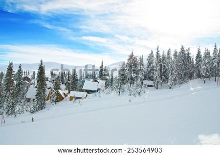 Carpathian Mountains in the snow slope - stock photo