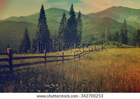 Carpathian mountains summer landscape with green hills and wooden fence, vintage hipster amazing background - stock photo
