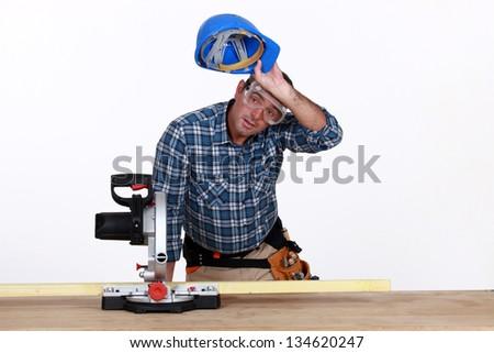 carpenter at work - stock photo