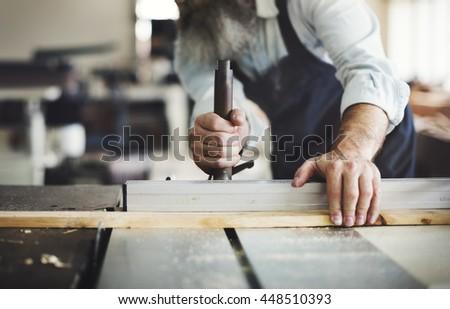 Carpenter Carpentry Handicraft Wooden Workshop Concept - stock photo