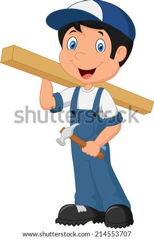 Carpenter cartoon - stock photo