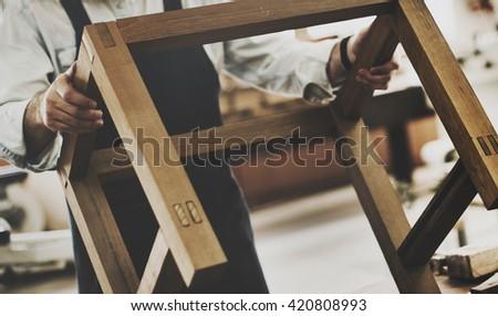 Carpenter Craftmanship Carpentry Handicraft Wooden Workshop Concept - stock photo