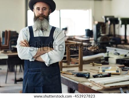 Carpenter Craftsmanship Carpentry Handicraft Wooden Workshop Concept - stock photo