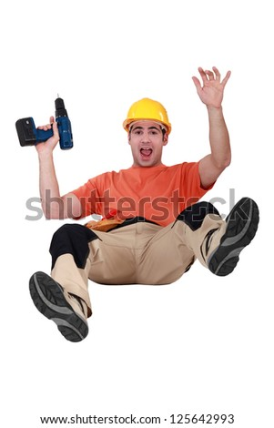 Carpenter falling - stock photo