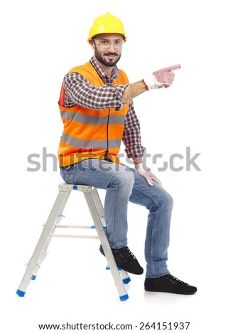 Carpenter showing - stock photo