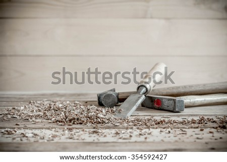 carpenter tools in pine wood table. - stock photo