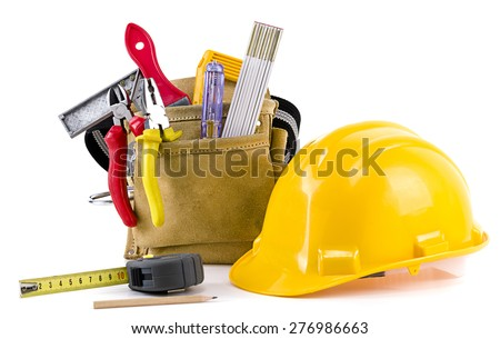 Carpenter tools isolated on white background.  - stock photo