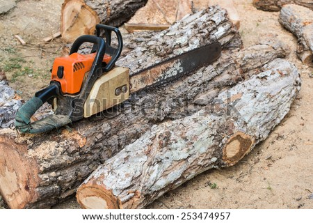 Carpenter tools Timber cutting wood with old saw, chainsaw and blade  - stock photo